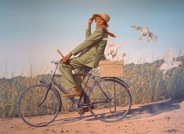 Kenya man on bicycle