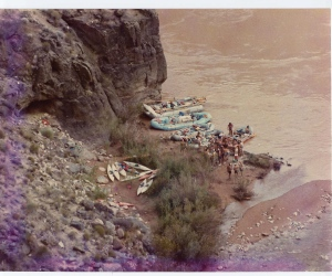 Lunch on a small sandbank, Colorado River, Grand Canyon - Five rafts, seventeen kayaks