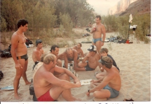 Jannie Claassen stands. Clockwise from front Left: Swys du Plessis (red shorts), Me just visible, Dave Walker back left, Willem van Riet, Herve de Rauville kneeling, Alli Peter lying down in back, Chris Greeff ponders, Bernie Garcin stands behind Chris, Wendy Walwyn, Cully Erdman (our guide) is front right. All poring over the map, plotting the next day!