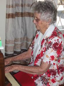 Mary Methodist on her 85th birthday - playing for her friends Sep 2013