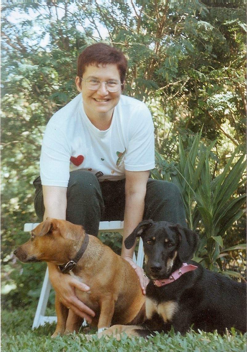 Aitch with TC & Bella; She sure loved her hounds (especially Bella, hey TC!)
