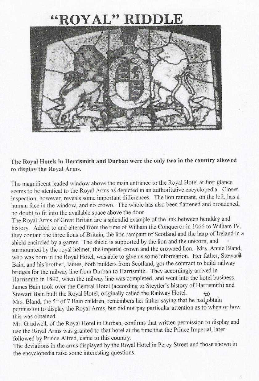 Royal Hotel article