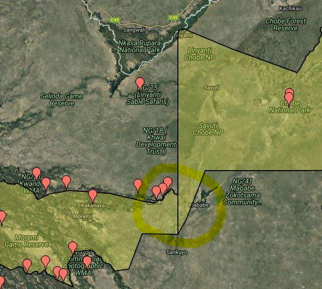 Map Moremi_Chobe border