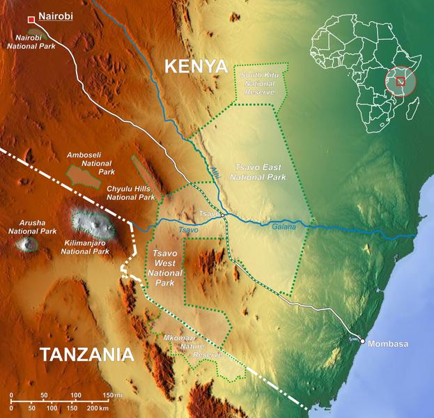 KenyaTsavo national park map