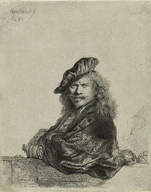 Rembrandt-Self_portrait_leaning_on_sill