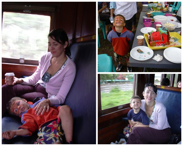 Luke flew out of the window! Inchamga Steam Train collage
